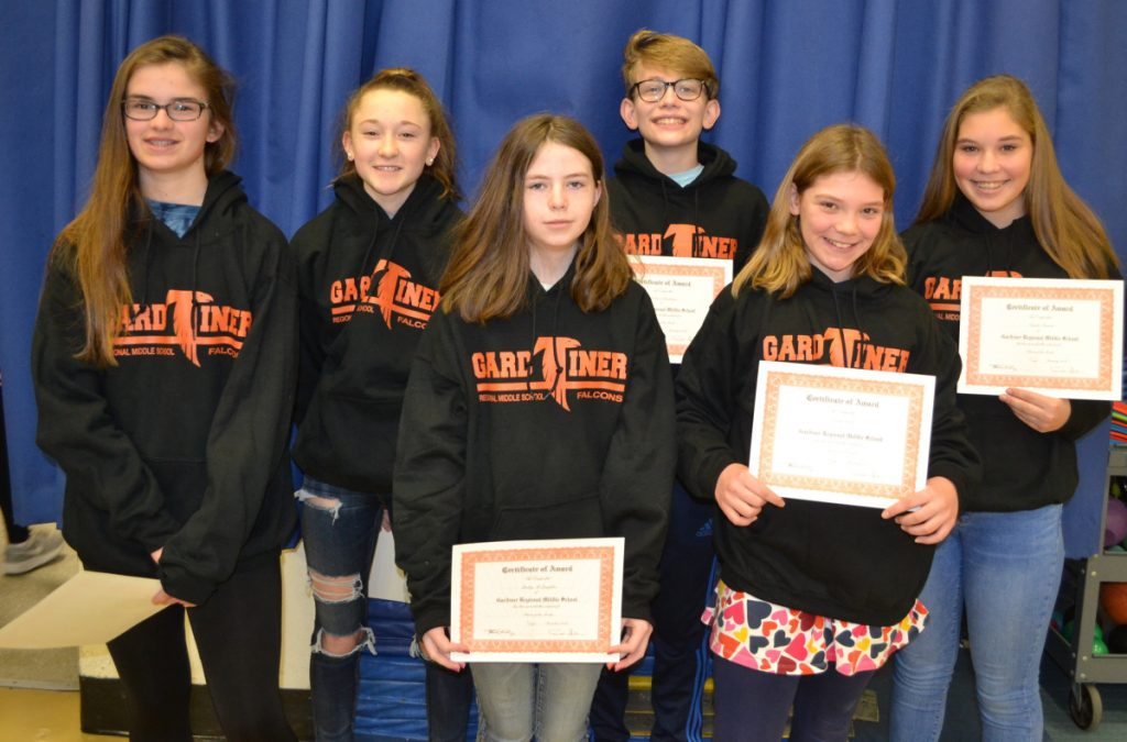 Gardiner Regional Middle School has announced its December and January Falcons of the Month. From left are Gigi Grant, Megan Gallagher, Bailey McLaughlin, Jackson Boudreau, Sarah Work and Natalie Fossett.