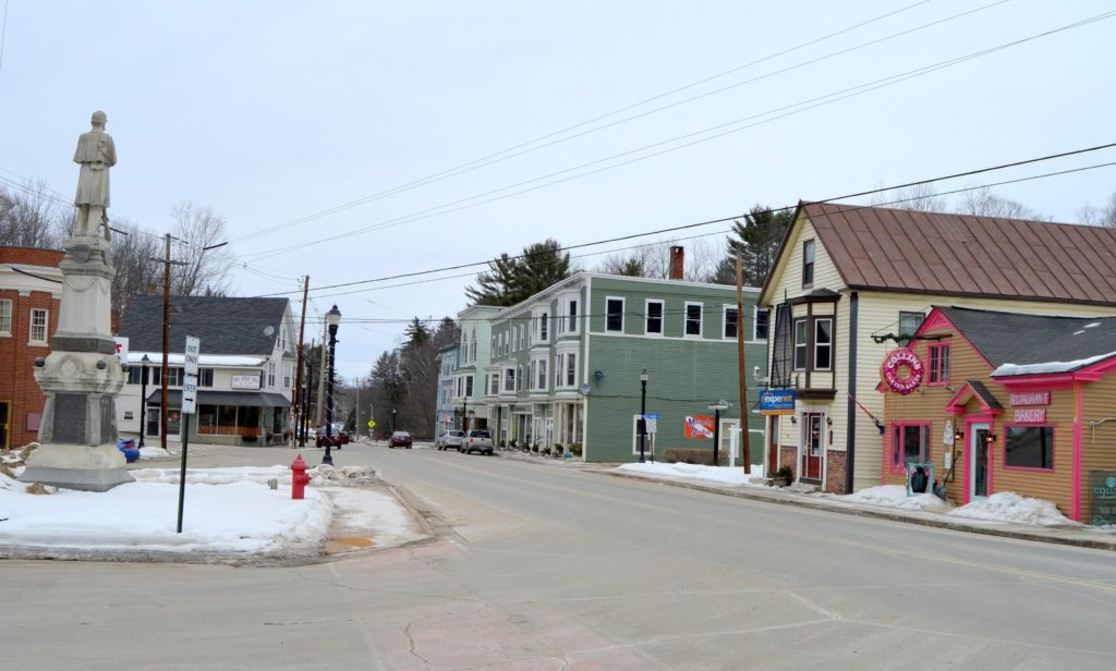 Improvements along Main Street in downtown Wilton, part of a Downtown Revitalization grant, have improved sidewalks, parking lots, lighting and the area around the monument.