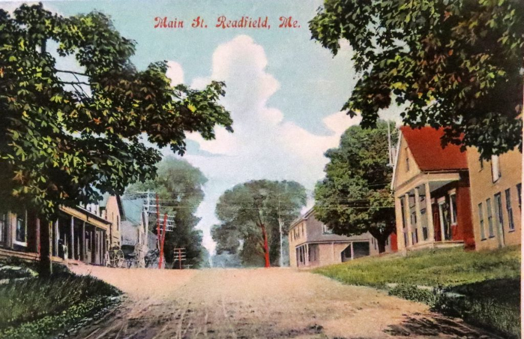 Main Street at Readfield Corner before the devastating fire of June 1921.