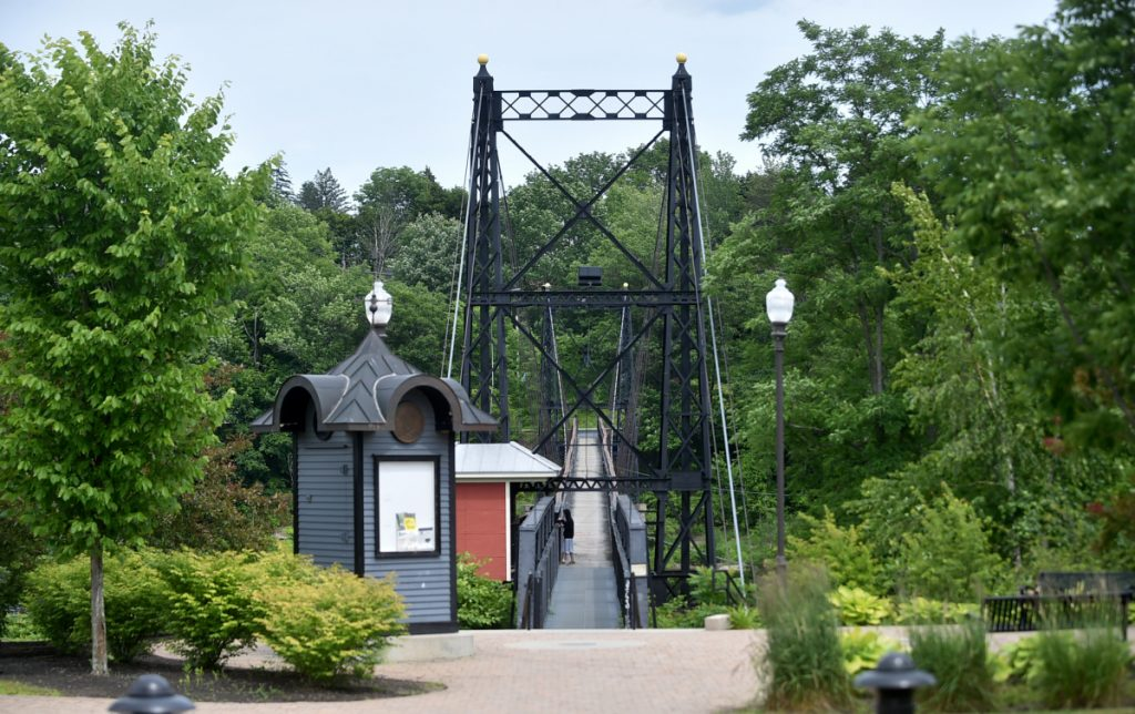 The Two Cent Bridge spanning the Kennebec will have its place in the RiverWalk scheme along with the art piece Ticonic.