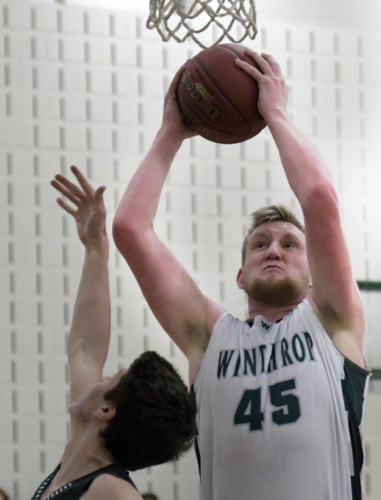 Winthrop's Cam Wood goes up for two against Spruce Mountain during a Mountain Valley Conference game Monday night in Winthrop.