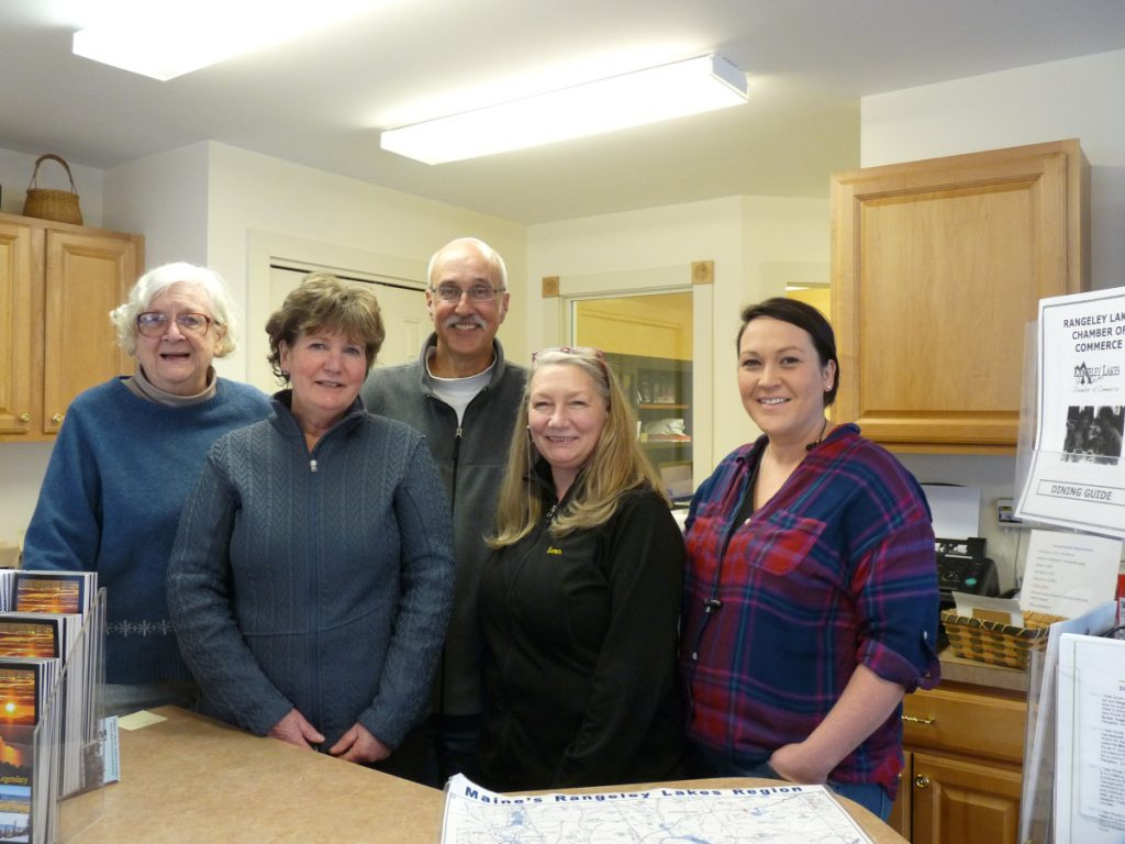 Rangeley Lakes Chamber of Commerce 2018 Board of Directors, from left, are Joanne Dunlap, Margery Jamison, Jim Ferrara, Karen Seaman and Meagan Vryhof.