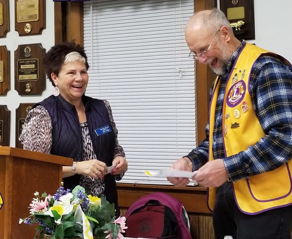 Lion Cindy Lincoln, left, and Lion Gerry Maldovan accepted the 2016-17 Excellence Award on behalf of the Whitefield Lions Club at the Jan. 28 Cabinet meeting.
