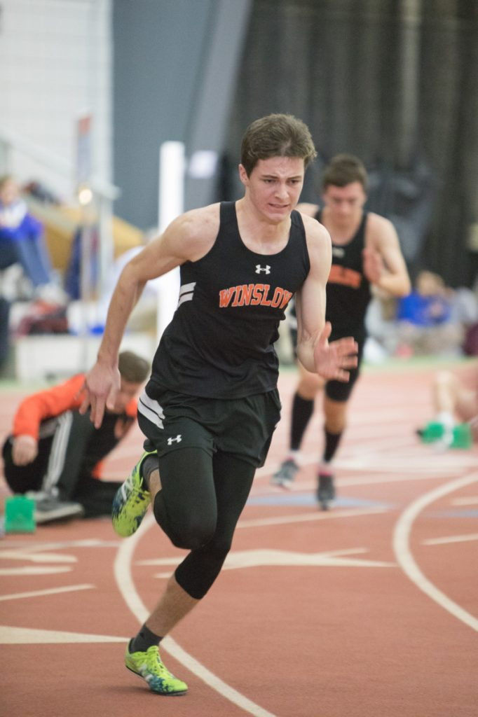 Winslow's Max Spaulding runs the 400 during the Kennebec Valley Athletic Conference championship meet Saturday at Bowdoin College.