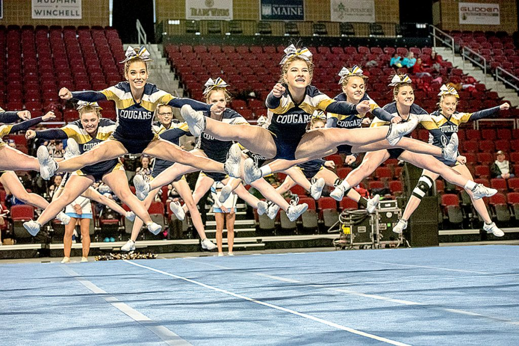 The Mt. Blue Cougars compete in the Class A cheerleading championships Saturday in Bangor.