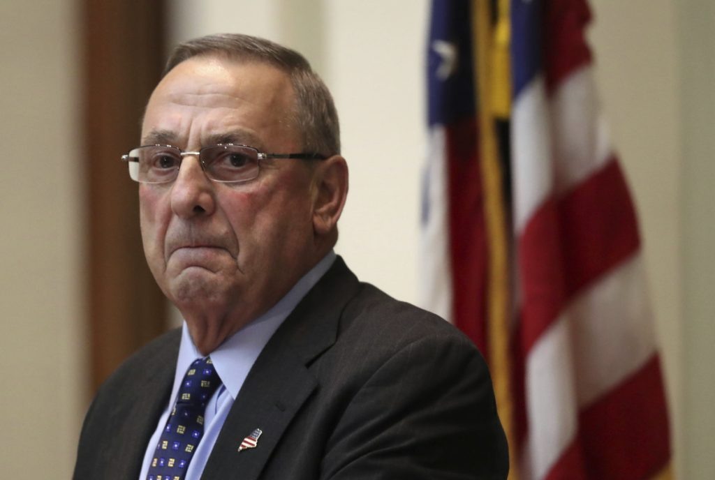 Gov. Paul LePage delivers the State of the State address Feb. 7, 2017, at the State House in Augusta.