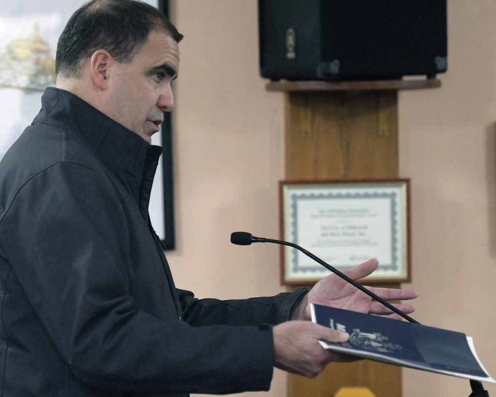 Maine Department of Transportation project manager Ernie Martin speaks to the Hallowell City Council on Monday about adding a crosswalk to Water Street in Hallowell.