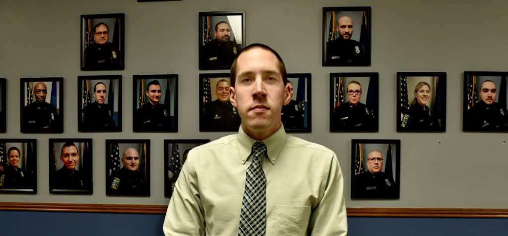 Skowhegan police officer Michael Bachelder was sworn in as a new department detective on Tuesday evening at the selectmen's meeting.