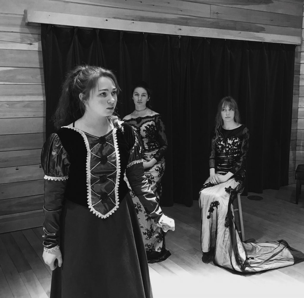 "Snow Pond Arts Academy Theater students, from left, Kalie Appleby, Mars Bisson and Sararose Willey, perform in ""Henry."""