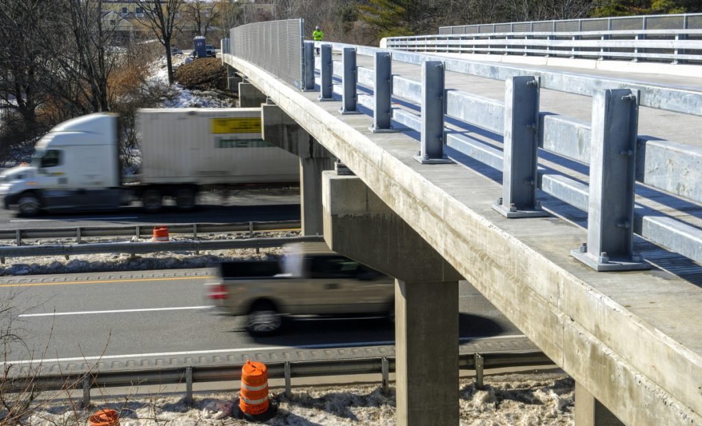 The new bridge at Exit 109 over Interstate 95 in Augusta is set to open Thursday. The old overpass was damaged by an unidentified vehicle or piece of equipment last year.