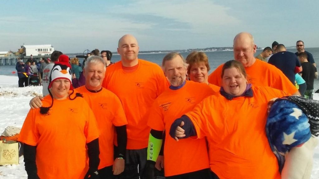 Members of the Manchester Lions Club recently took part in the Lobster Dip for Special Olympics Maine. From left are Michelle Crocker, David Worthing, Miles Whitlock, Glen Crocker, Deb Maddox, Elizabeth Ward and Ed Maddox.