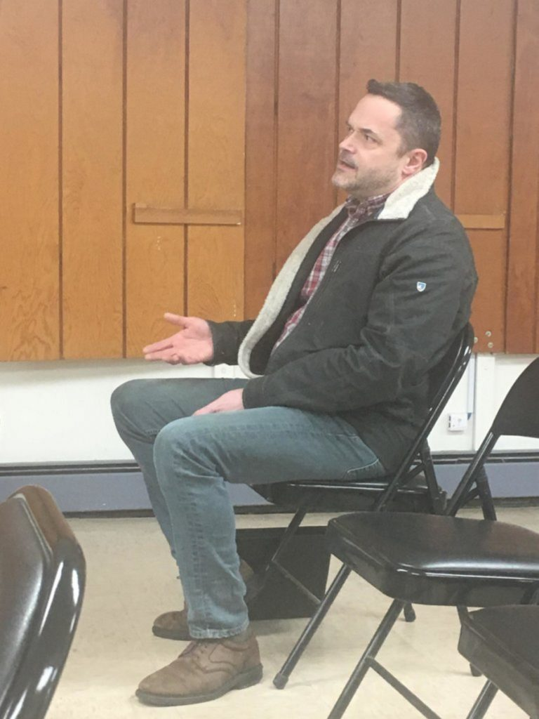 Scott Holbrook, owner of LeBaron Bonney Co., of Amesbury, Mass., attends Thursday evening's Wilton Planning Board meeting to discuss moving into the Bass-Wilson building on 284 Main St. The board approved his request.