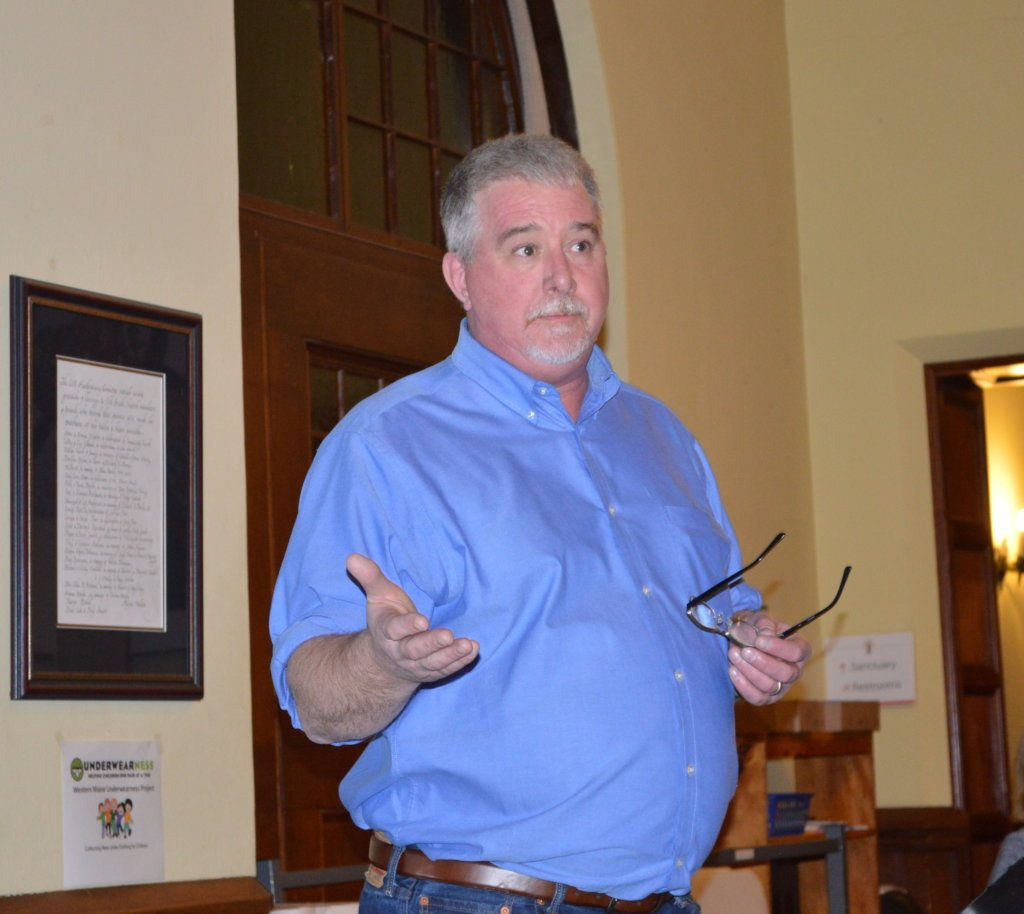 Chris Bicknell, executive director of New Beginnings, speaks Thursday night during a forum on youth homelessness at the Old South First Congregational Church in Farmington. Franklin County has been chosen as one of five sites nationally to join the 100-Day Challenge on Youth Homelessness.
