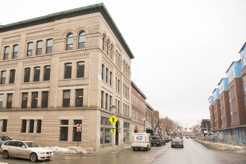 The Portland Pie Co. has signed a lease with Colby College to occupy ground floor space in the Hains Building, on the left, at the corner of Main and Appleton streets and across Main Street from Colby's new residential complex, the key piece in Waterville's downtown revitalization.