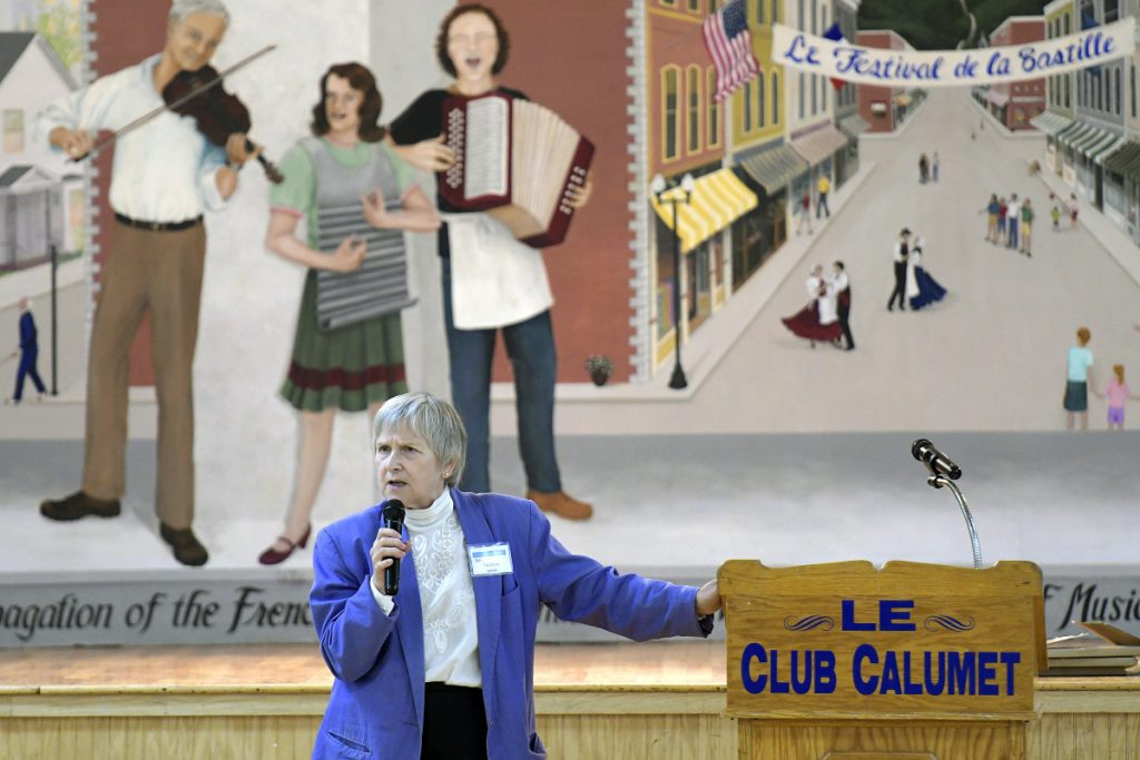Jan Michaud takes part on Sept. 19, 2017, in a celebration of the Calumet Educational & Literary Foundation in Augusta.