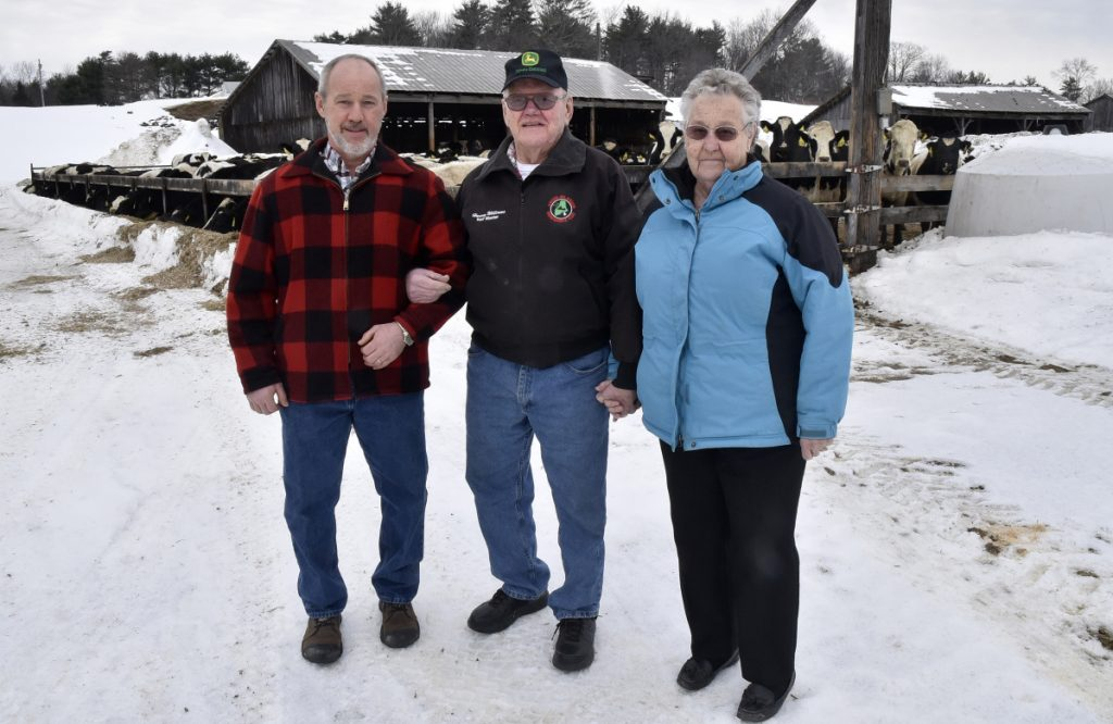 The town of Anson is recognizing the Williams Farm in North Anson in the annual report for this year's Town Meeting. From left are Richard Williams with his parents, Harvey and Jean Williams.