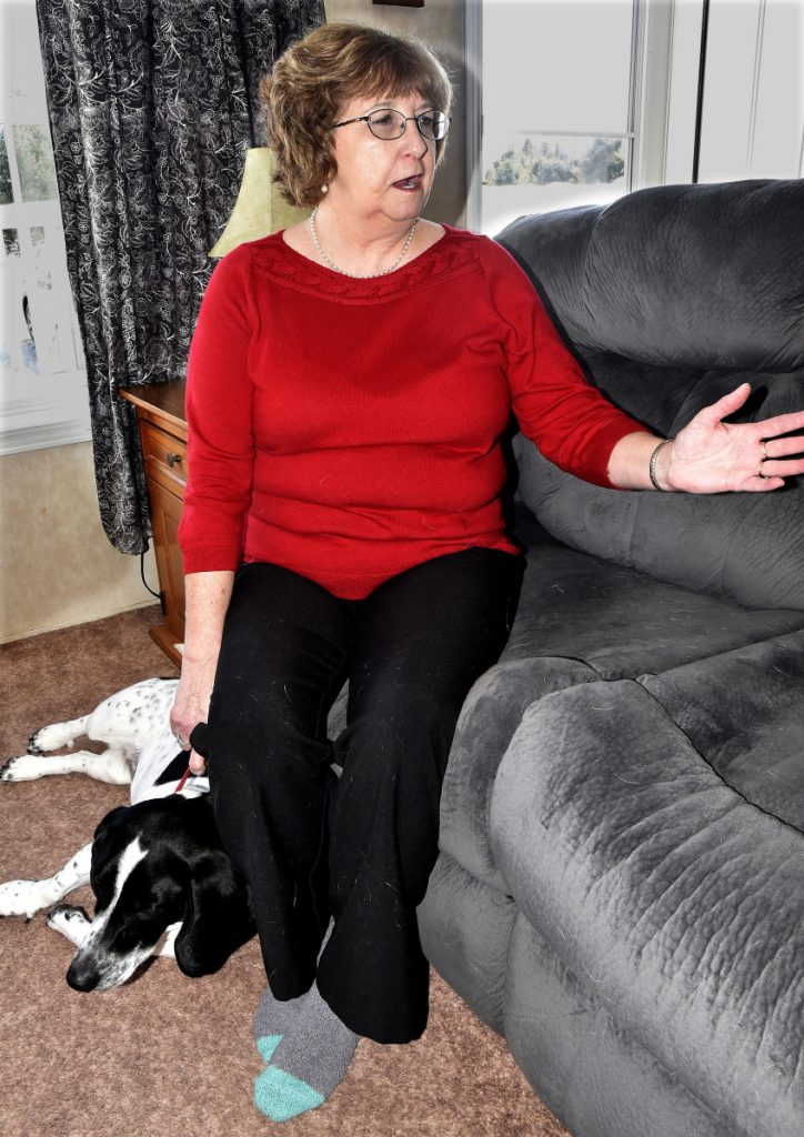 Deb Crowley Jones in her home in Canaan she shares with her dog Daisy talks about her former marriage to Gerard Pepin on Tuesday. Pepin, a drug counselor, has been charged and convicted of sexual battery of a woman who was his client.