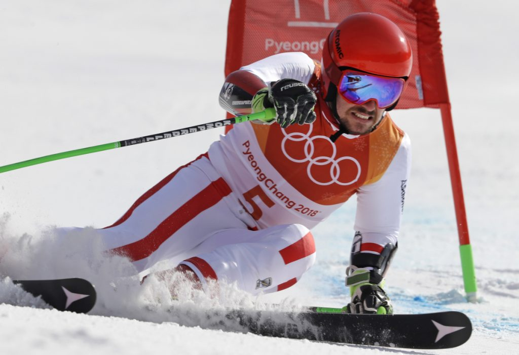 Austria's Marcel Hirscher skis to the gold medal in the second run of the men's giant slalom Sunday at the 2018 Winter Olympics in Pyeongchang, South Korea.