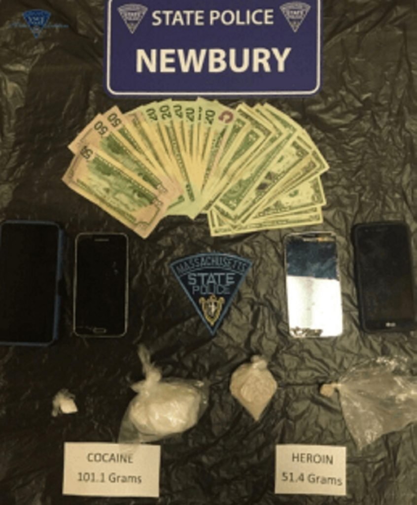 Massachusetts State Police arrested two men from central Maine on Sunday in Haverhill and charged them with trafficking in heroin and cocaine. Police say drug buyers are drawn to the area because of the lower cost of drugs that they can then sell at a profit in Maine and New Hampshire.