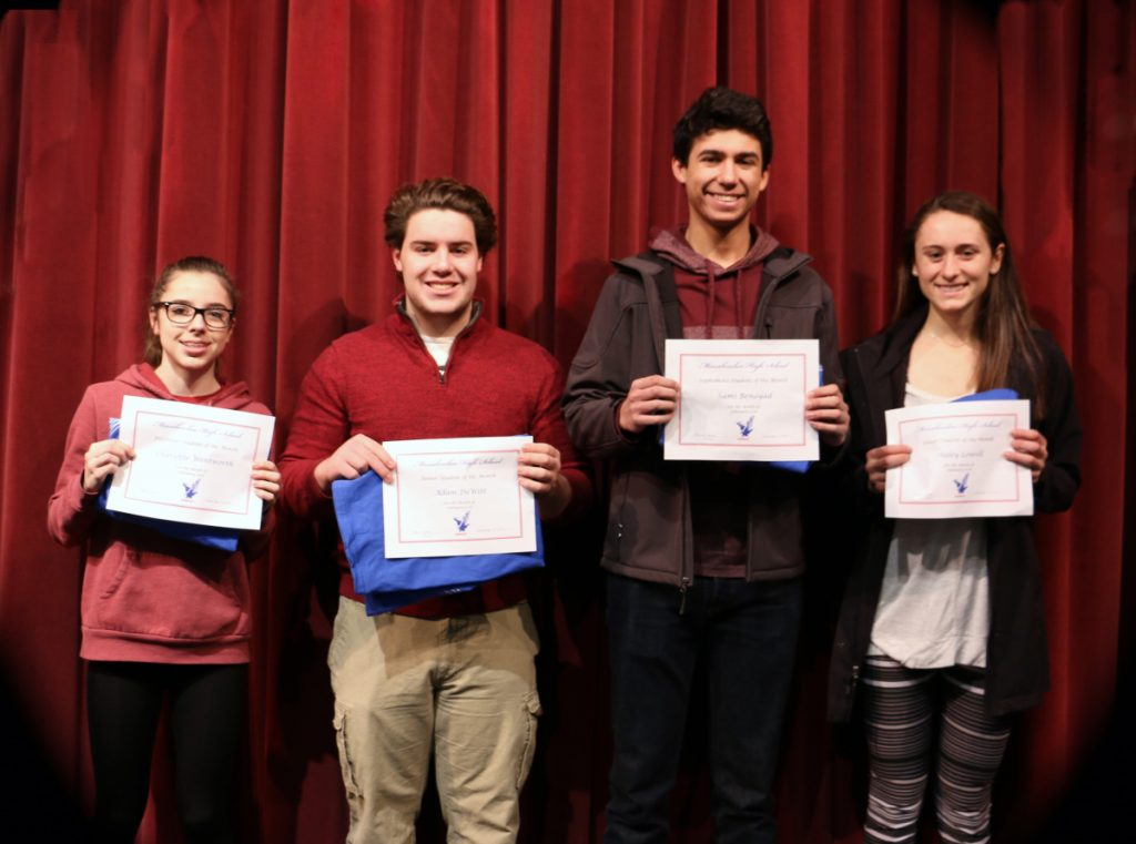 Messalonskee High School February Students of the Month, from left, are Charlotte Wentworth, Adam DeWitt, Sami Benayad and Haley Lowell.