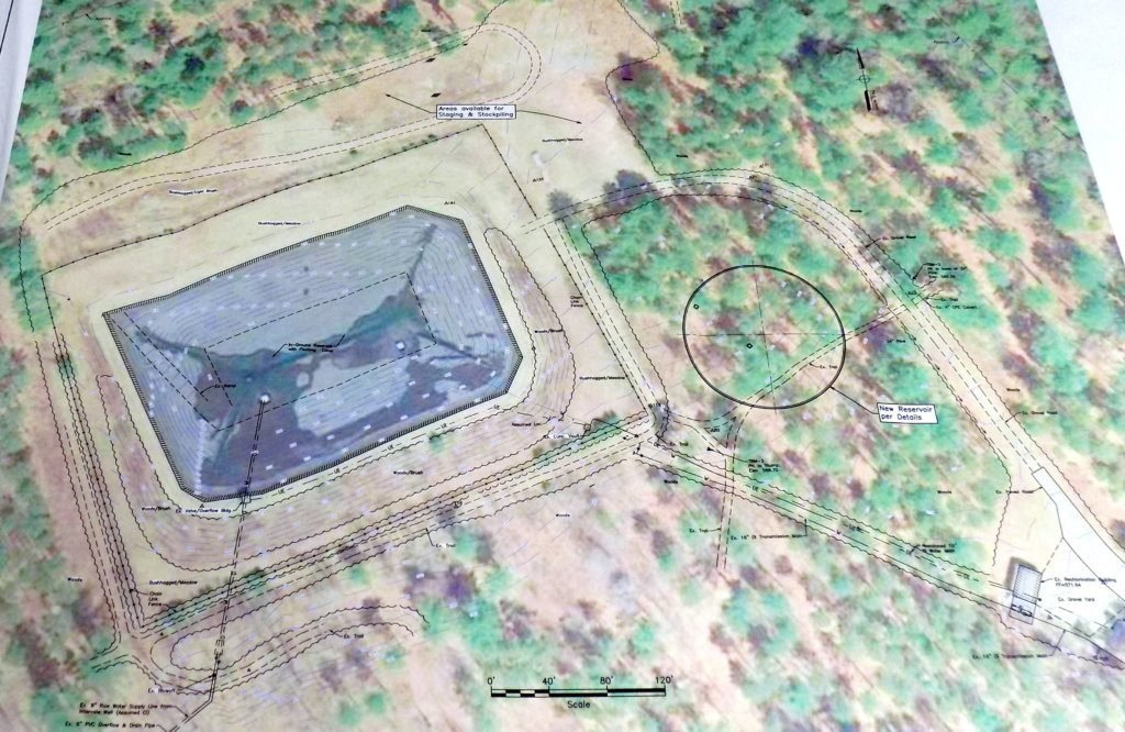 The Farmington Water Department is proposing to build a 2.5 million-gallon concrete reservoir, represented by the circle in the plan seen here. It would be adjacent to the existing 5 million-gallon, earthen reservoir shown by the rectangular area in the plan.