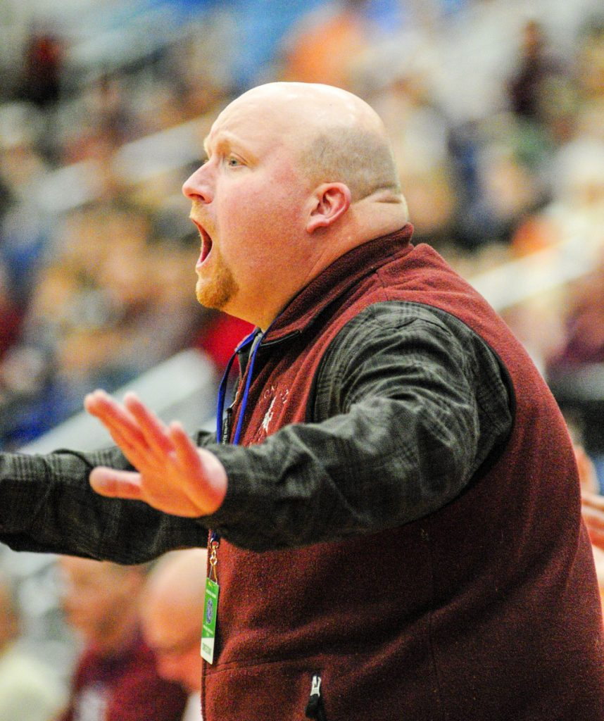 Monmouth girls basketball coach Scott Wing reacts during a Class C South semifinal game Thursday at the Augusta Civic Center.