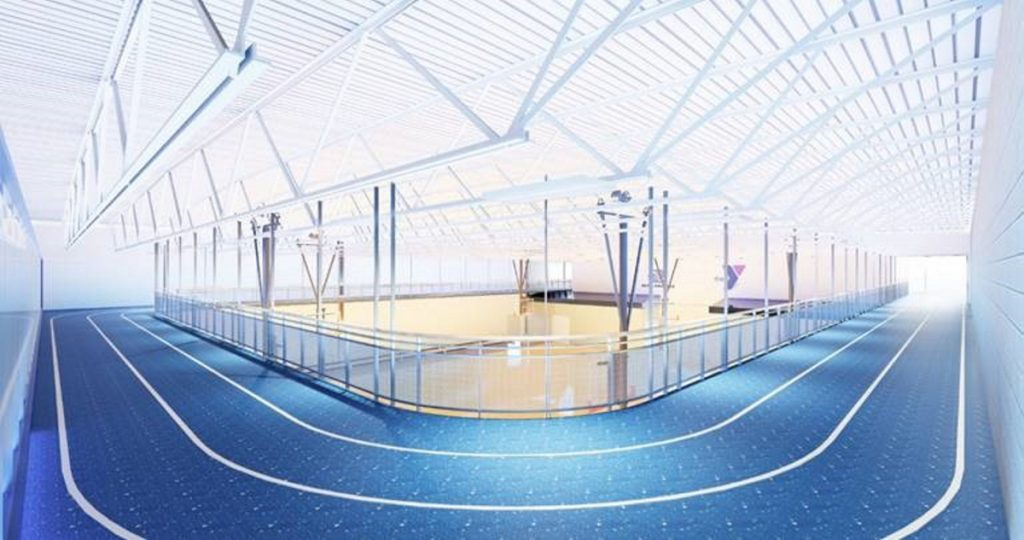 The second floor of the adult wellness center that the Alfond Youth Center is planning would include an indoor running track.