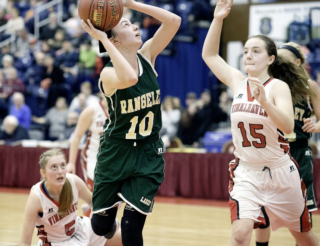 Brooke Egan of Rangeley shoots over Deja Doughty of Vinalhaven during the fourth quarter of the Class D South title game Saturday in Augusta.