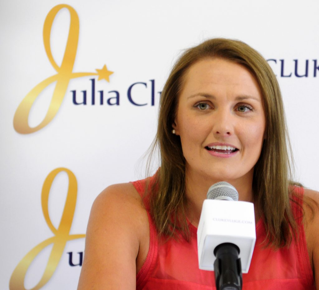 Julia Clukey of Augusta announces her retirement from luge during a 2016 news conference at the Kennebec Valley YMCA in Augusta.
