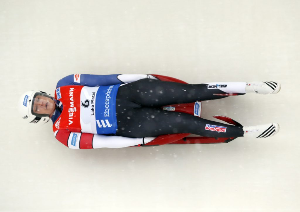 Julia Clukey of Augusta competes in the women's luge World Cup event on  Dec. 6, 2014 in Lake Placid, New York.