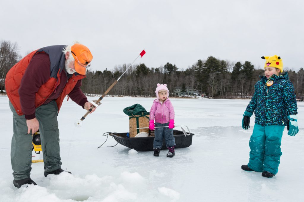 Wayne ice fishing derby helps get kids outside off the for Maine ice fishing derbies