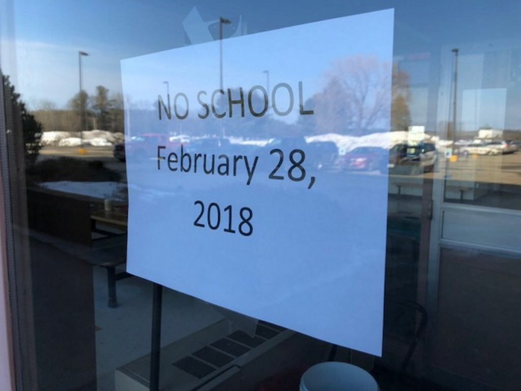 "This notice was posted on the front door Wednesday at Skowhegan Area High School after an online threat Tuesday night, showing an image of an AR-15 assault rifle and a menacing message that ""You're all DEAD."""