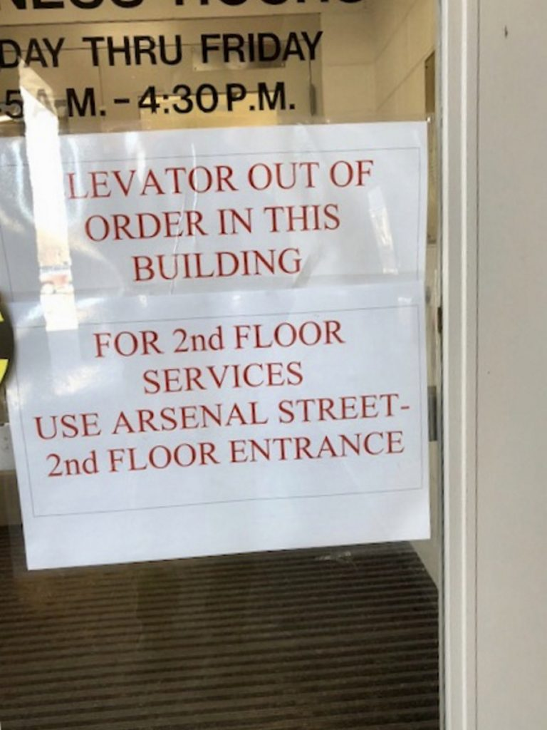 The elevator at Augusta City Center remained broken Wednesday as officials considered spending money for a less costly repair instead of $100,000 to modernize it.