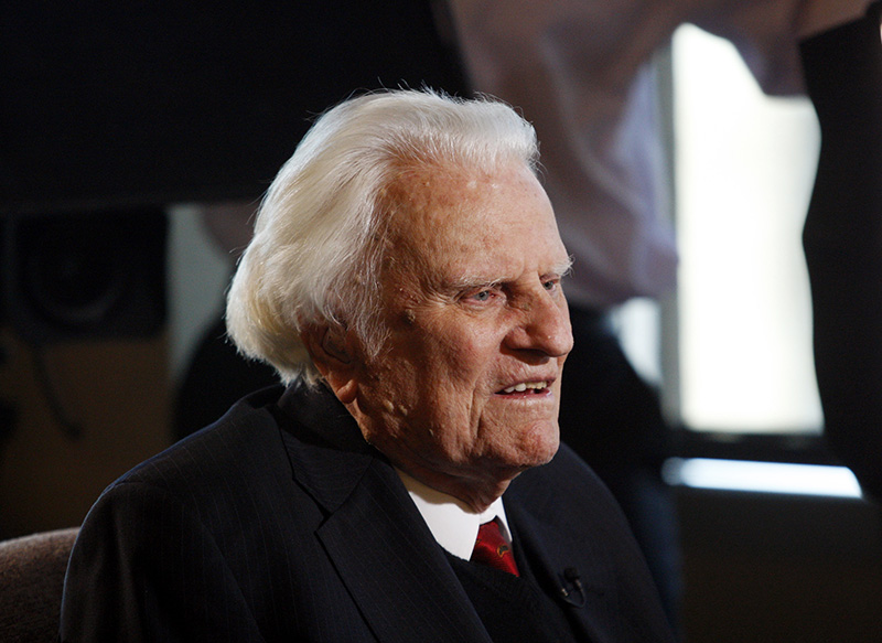 Billy Graham, 92, speaks during an interview at the Billy Graham Evangelistic Association headquarters in Charlotte, N.C.