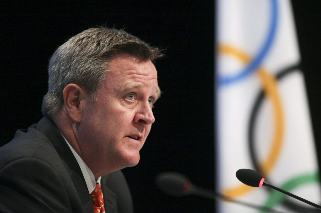 U.S. Olympic Committee CEO Scott Blackmun speaks on May 24, 2012, at the SportAccord conference in Quebec City. Blackmun is resigning as CEO of the US Olympic Committee, citing health problems as the reason he'll depart after leading the federation for more than eight years. The 60-year-old CEO was diagnosed with prostate cancer earlier this winter, and did not attend the Pyeongchang Games. He announced his resignation Wednesday, and Susanne Lyons, a member of the board, will serve as acting CEO.