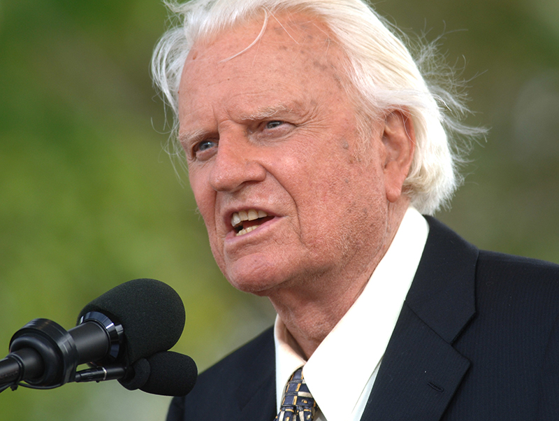 The Rev. Billy Graham speaks on stage on the third and last day of his farewell American revival in New York in 2005.