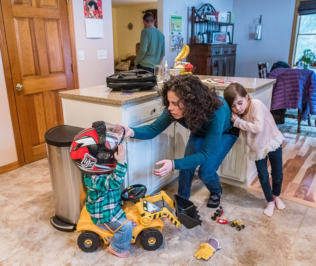 Amy Richard at home in Hebron with her children, Owen, left, and Olivia. Richard, 41, who is a nonsmoker, has been diagnosed with stage 4 lung cancer.