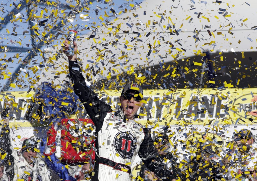 Kevin Harvick celebrates after winning a NASCAR Cup series Sunday in Las Vegas.