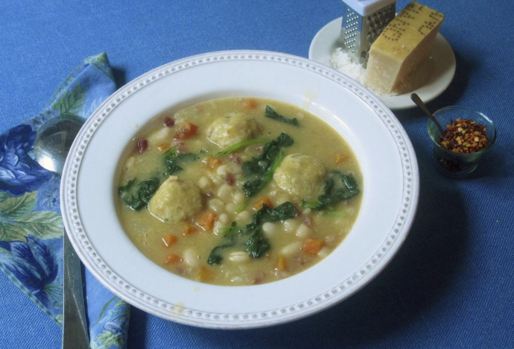 The soup is thickened by pureeing a few cups of cooked vegetables and stirring them back into the pot.