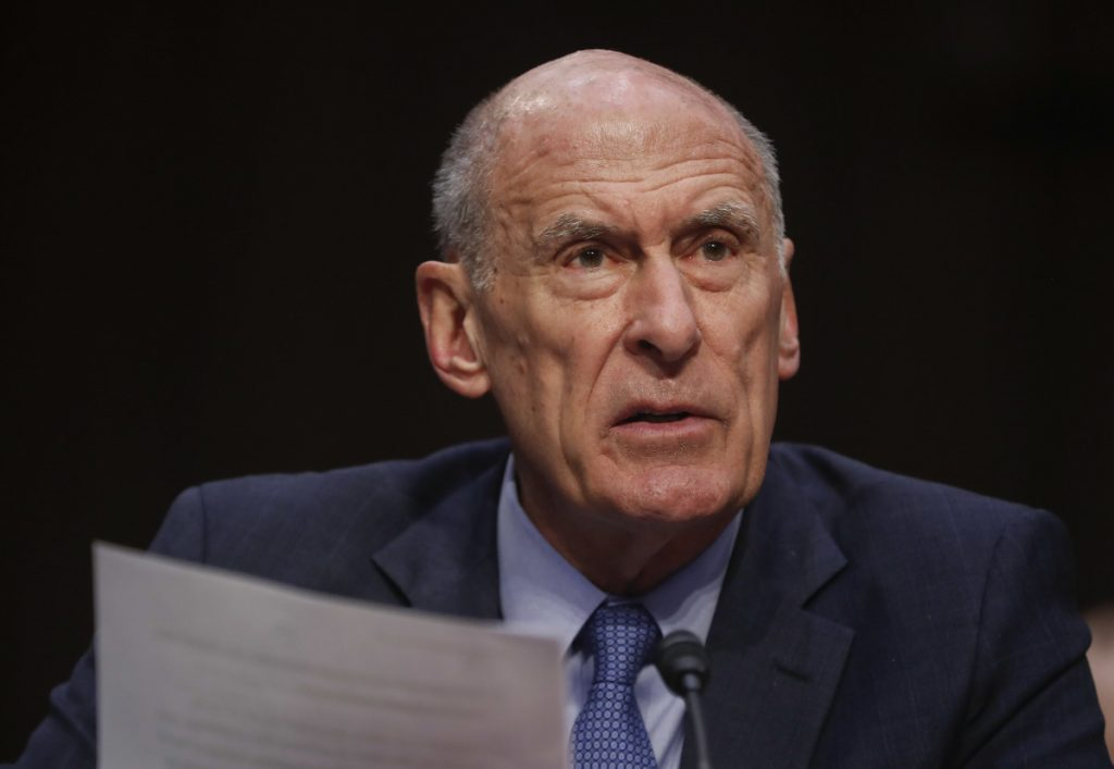 Associated Press/Pablo Martinez Monsivais Director of National Intelligence Dan Coats testifies before the Senate Armed Services Committee on Capitol Hill in Washington on Tuesday. Coats said Treasury Secretary Steven Mnuchin will be announcing new sanctions within a week.
