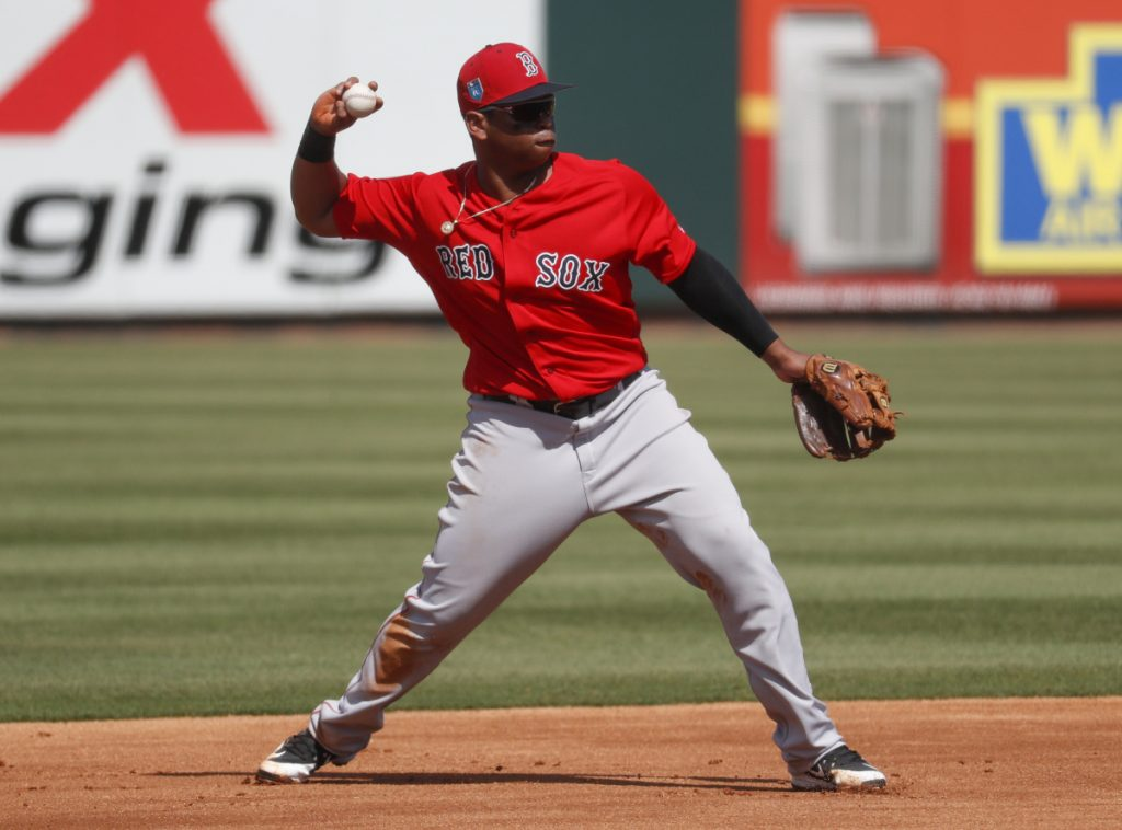 Third baseman Rafael Devers will likely hit in the middle of the lineup for the Red Sox this season and many expect a breakout year. Devers hits.284 with 10 homers in 58 games last season.