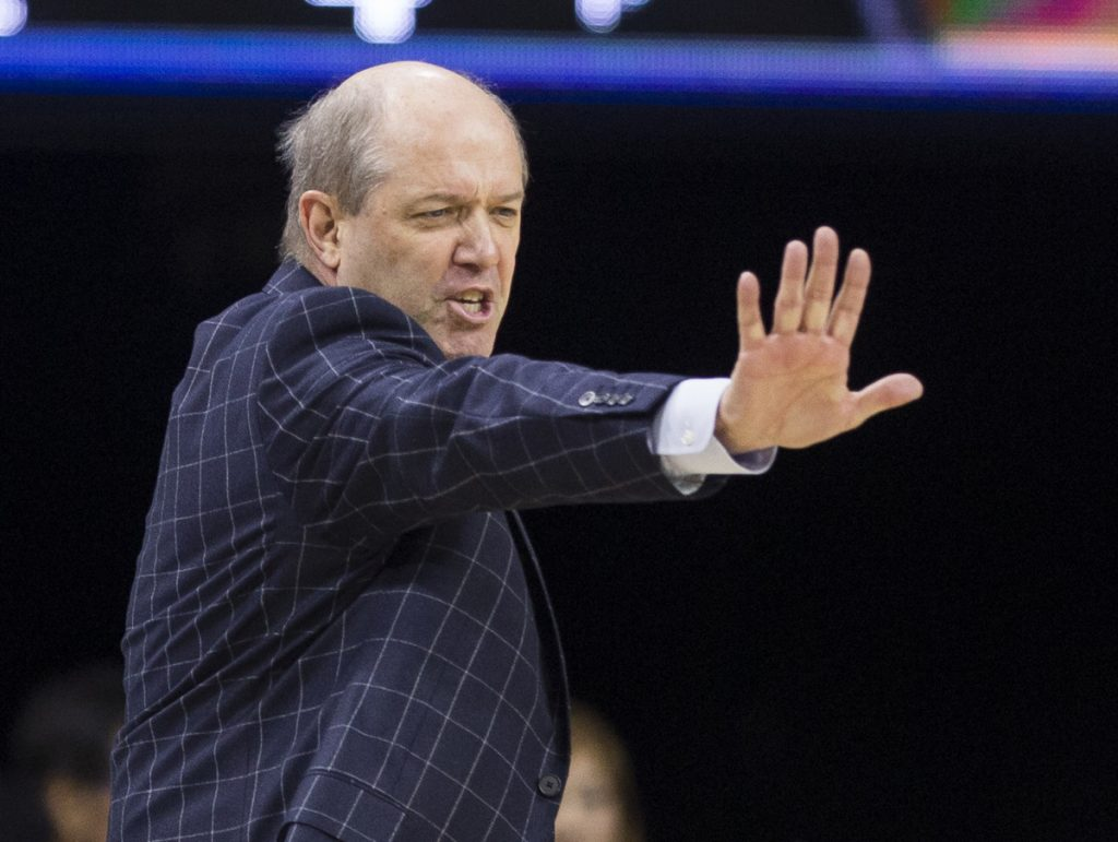 Pittsburgh head coach Kevin Stallings directs players during the first half of an NCAA college basketball game against Notre Dame Wednesday, Feb. 28, 2018, in South Bend, Ind. Notre Dame won 73-56. (AP Photo/Robert Franklin)
