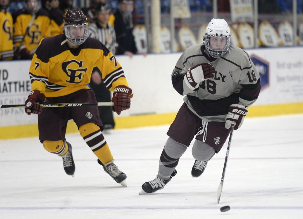 Jake MacDonald, right, is Greely's second leading scorer with 45 points and tallied the winning goal Tuesday when the Rangers beat Cape Elizabeth in the Class B South final.