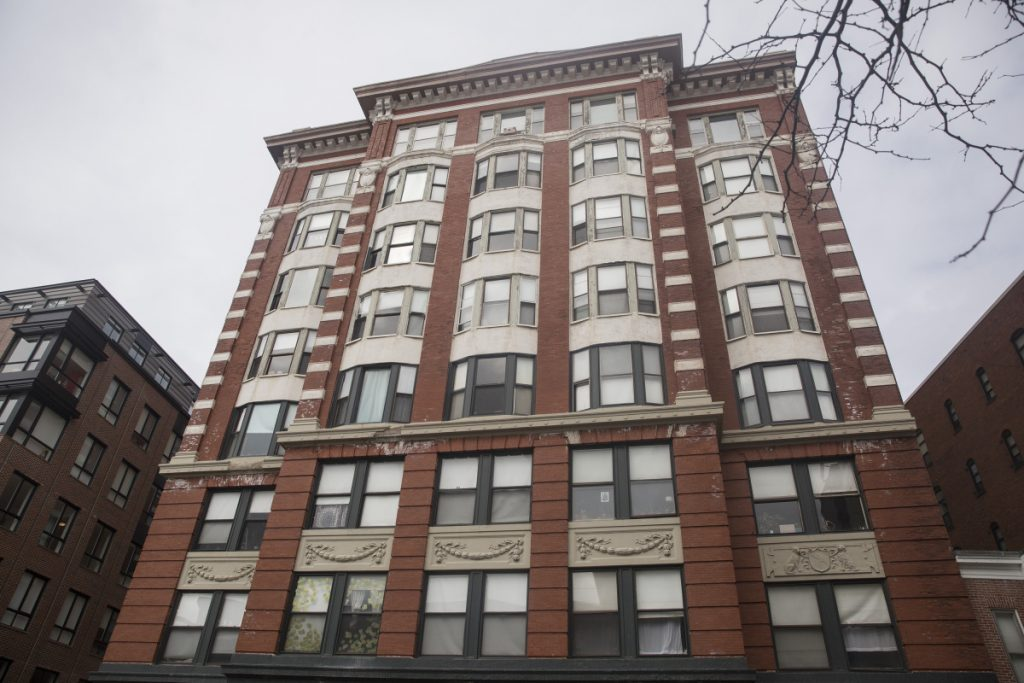 The landlord of this apartment building at 655 Congress St. did not register the units in 2017 or 2018, the city of Portland says.