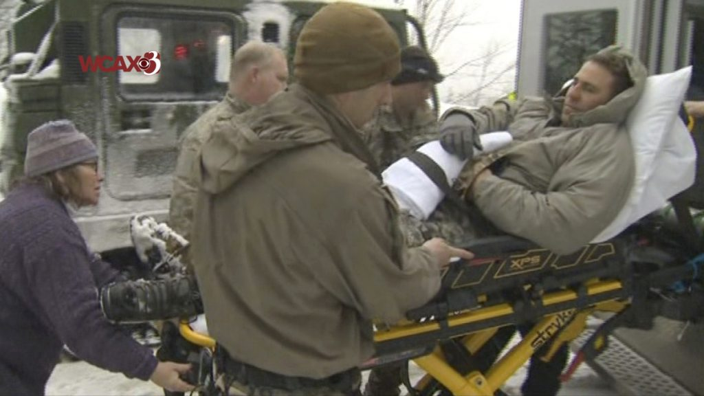 In this still image from video provided by WCAX-TV Channel 3, a U.S. Army soldier is evacuated on a stretcher following an avalanche Wednesday while he was participating in U.S. Army mountain-wartime training near Easy Gully in Smugglers' Notch, a narrow pass at the edge of Mount Mansfield, in Cambridge, Vermont. Six U.S. soldiers were injured in the avalanche.