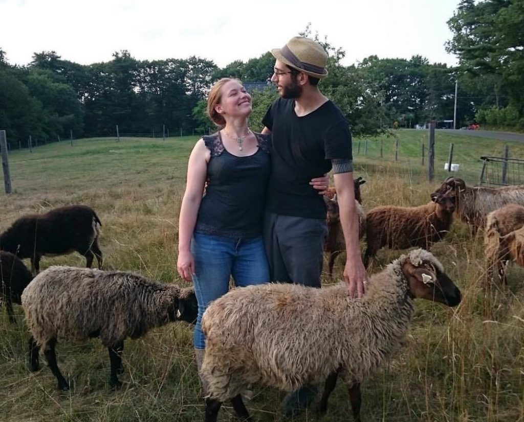 August DeLisle with his wife, Torie. The couple's WoodHaus Farm is in Waldoboro.