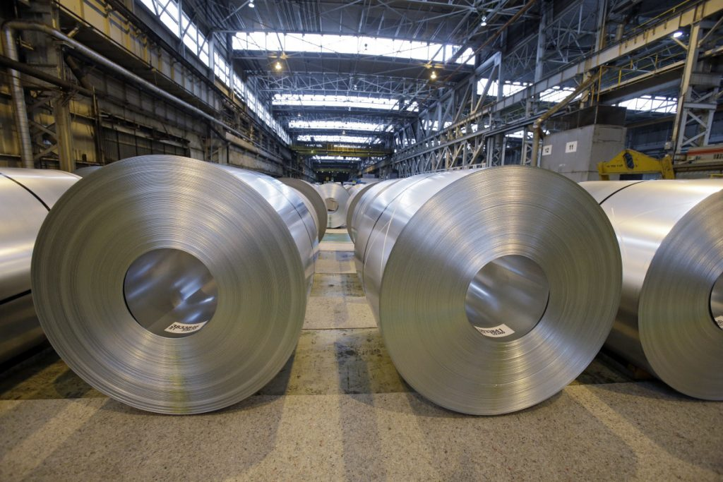 Galvanized steel coils await shipment in 2013 at ArcelorMittal Steel's plant in Ohio.
