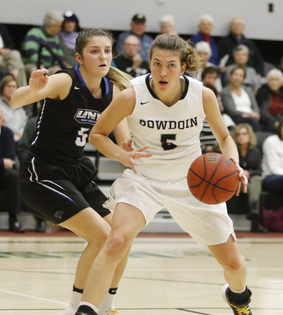 Bowdoin senior Kate Kerrigan, the national Division III Player of the Year, had 11 points, 12 rebounds and six assists in the win Friday night.
