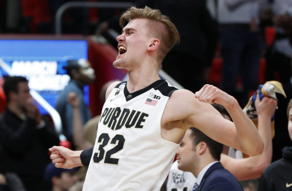 Matt Haarms, who started when Purdue's standout center was injured, clogged the middle and helped the Boilermakers withstand a challenge from Butler for a 76-73 victory in the NCAA tournament Sunday at Detroit.