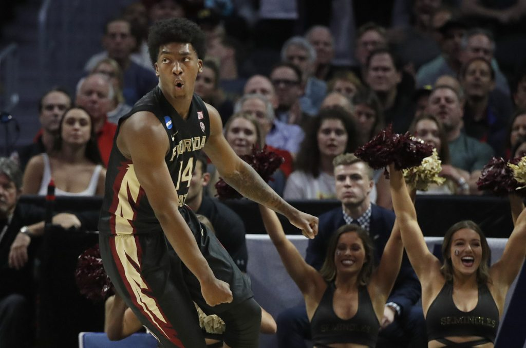 Florida State guard Terance Mann celebrates after scoring against Gonzaga in the second half of Thursday's regional semifinal in Los Angeles. The Seminoles beat the Zags 75-60 and advanced to the Elite Eight.